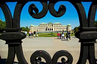 Belvedere Palace museum of art view through the gate in Vienna, Austria