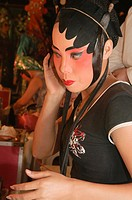 Chinese opera performer backstage in Bangkok, Thailand