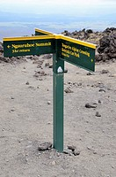 Sign on Tongariro Crossing at the point where you climb Mount Ngauruhoe Tongariro National Park Central Plateau, North Island New Zealand