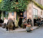 Men in the working-class district of Balat in Istanbul, Turkey