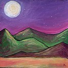 Landscape painting 'Moonlit Hills'
