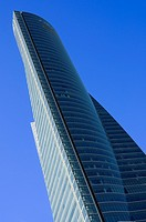 View from below of Crystal Tower, located in Cuatro Torres Business Area of Madrid, Comunidad de Madrid, Spain, Europe