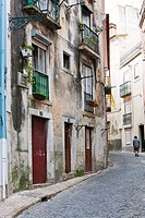 Street in the historic centre of Lisbon, Portugal, Europe