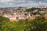 City view from Castle of São Jorge towards Church of Nossa Senhora da Graça, Lisbon, Portugal, Europe