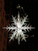 Ornament hanging during Christmas  Star hung on 5th avenue intersection of NYC on December, 2007