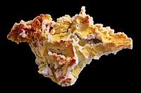 Manganoan calcitered - ferromanganoan dolomite yellow - Bulgaria - Krushev Dol mine - Madan.