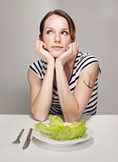 Women with Anchor Tatoo and Salad Plate