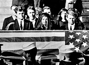 Senator Edward Kennedy, Jacqueline Kennedy and Attorney General Robert Kennedy at President John F. Kennedy's funeral, 1963. Cou