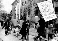 Students protesting the R.O.T.C. program at Harvard University in Cambridge, Massachusetts, April 9, 1969