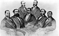 Black Congressmen during Reconstruction. seated Sen. H.R. Revels, Mississippi, Rep. Benjamin S. Turner, Alabama, Rep. Josiah T