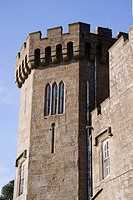 Scotland, Loch Lomond and Trossachs, Balloch Castle, tower with turrets