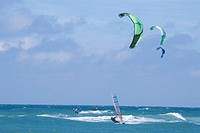 Germany, Sylt, windsurfing and kiteboarding at sea