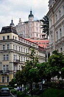Buildings in upper Karlovy Vary, Czech Republic