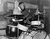 African American drummer in orchestra in Memphis juke joint, Tennessee, photograph by Marion Post Wolcott, October, 1939