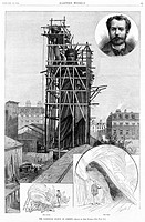 Statue of Liberty. Construction of the Statue of Liberty, showing the statue in scaffolding, man with the flame, man with the foot, and head_and_shoul...