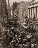 Chaotic scene on Wall Street, NYC on May 14, 1884. The Panic occurred during to a credit contraction by the largest New York banks. The Panic ended wh...
