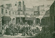 Slave market in Cairo, Egypt 1885. Most 19th century urban Egyptian slaves worked as domestic servants