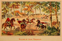 Killing of John Younger, member of the James_Younger criminal gang on March 17, 1874. While traveling with his brother Jim, they crossed paths with tw...