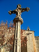 Stone cross in front of monastery, Sant Cugat del Valles, Barcelona province, Catalonia, Spain