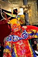 Paris, France, Tibetan Man in Traditional Dress, Performing Ritual Dance, Buddhist Ceremony, Pagoda in Parc de Vincennes
