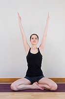 Woman stretching during yoga