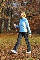 Blonde woman at Nordic Walking