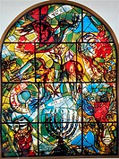 The Tribe of Asher  The Twelve Tribes of Israel depicted in stained glass By Marc Shagall 1887 - 1985  The Twelve Tribes are Reuben, Simeon, Levi, Jud...