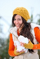 woman snow happy