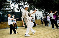 Paris, France, Public Events, Senior Adults Practicing Tai Chi at Paris Plage