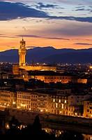 Florence  Palazzo Vecchio at Dusk  Tuscany  Italy  Europe.