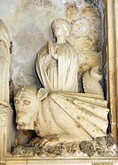 Cathedral of the Holy Saviour, Aix en Provence, France  Detail of Aygosi family stone altar  Dragon with St  Margaret of Antioch