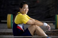 Gold medalist body builder Pavina Thongsuk at a amilitary camp in Maerim district rests after workout Maerim, Thailand January 19, 2007