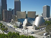 Walt Disney Concert Hall and Downtown Los Angeles. Disney Hall was designed by architect Frank Gehry. Los Angeles, California