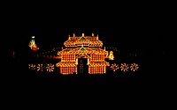 TEMPLE ILLUMINATED DURING THRISSUR POORAM, KERALA, INDIA