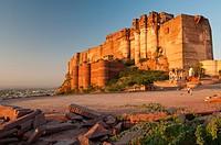 Mehrangarh Fort on hill above Jodhpur, Rajasthan, India