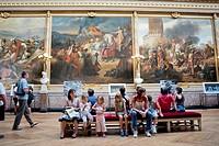 Paris, France - Tourists Visiting French Monument, Chateau de Versailles