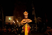 Artist performing traditional Kecak dance Bali, Indonesia October 2010