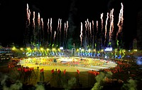Magnificent fireworks light up the night sky during the inauguration of the 2011 ICC Cricket World Cup at the Bangabandhu National Stadium Dhaka, Bang...