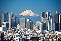 Tokyo, city, Japan, November, Asia, district, Shinjuku, mountain Fuji, mountain, Fuji, snow, Skyline, blocks of flats, high_rise buildings, town, city...