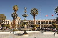 Peru, Arequipa, Plaza de Armas, Fountain