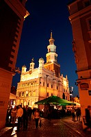 The Stary Rynek place with the city hall in the starlings Miasto or Old Town in centre of Poznan or poses in great Pole in Poland