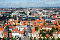 Panoramic city view, Copenhagen, Denmark, Scandinavia, Europe