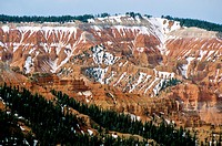 Snow covered landscape at Cedar Breaks National Monument in Utah, USA