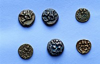 LEAD COINS OF SATAVAHANAS STATE MUSEUM ,HYDERABAD, ANDHRA PRADESH, INDIA