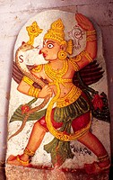 PAINTED CARVINGS IN SRI RAMA TEMPLE, PENUKONDA ,ANDHRA PRADESH, INDIA