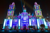 Light show at Cathedral Metropolitana, District Federal, Mexico City, Mexico, North America