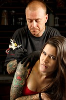 Getting a tattoo