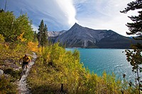 A middle aged man mountian biking along Lake Minnewanka, Banff National Park, Alberta, Canada