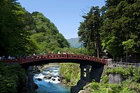 Famous Futarasan Shrine Shinkyo Sacred Bridge in the town of Nikko, Tochigi Prefecture, Japan, Asia