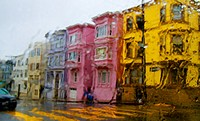 Colorful San Francisco house through a rain drenched windshield, California, USA
